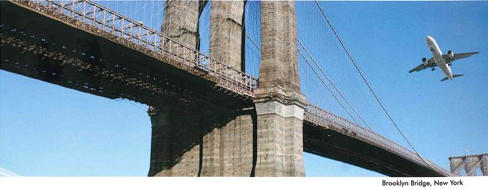 airplane over Brooklyn Bridge, New York